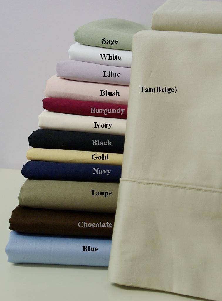 600 TC Egyptian Cotton Solid Pillow Cases - Standard Size