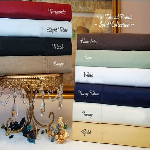 Twin Size Sheet Set 530 TC Egyptian Cotton