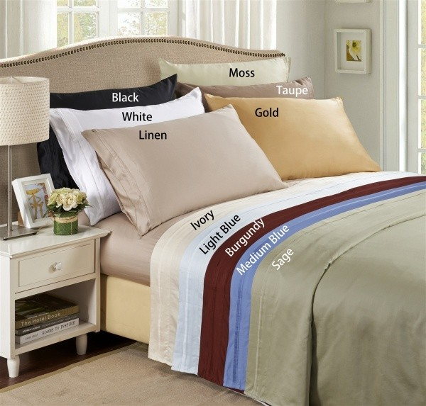 Olympic Queen 650 Thread Count Sateen Solid Sheet Set