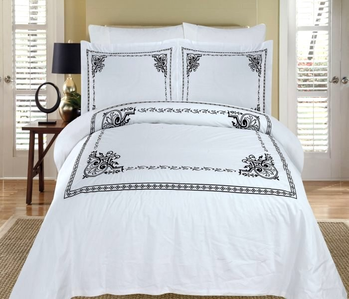 Athena Embroidered Duvet Cover Set Egyptian Cotton