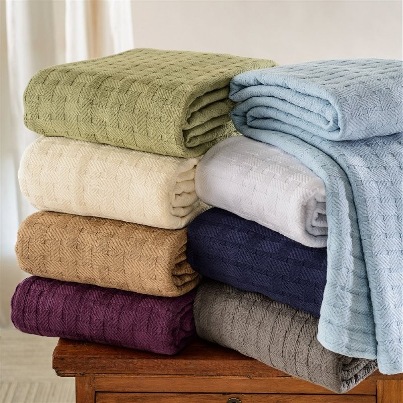 Luxurious 100% Cotton Basket Weave Blanket