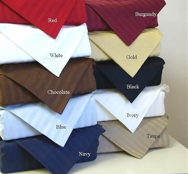 Olympic Queen 600 Thread Count Sateen Stripe Sheet Set