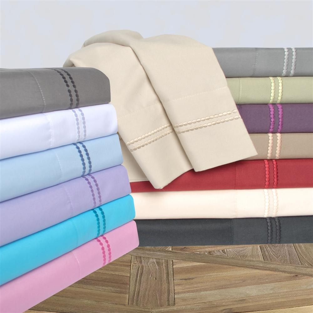 2-Line Embroidered Wrinkle Resistant  Sheet Sets - King