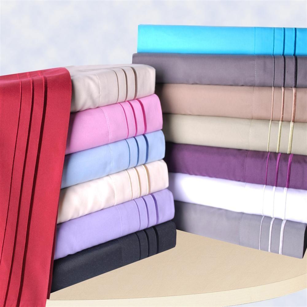 3-Line Embroidered Wrinkle Resistant  Sheet Sets - King