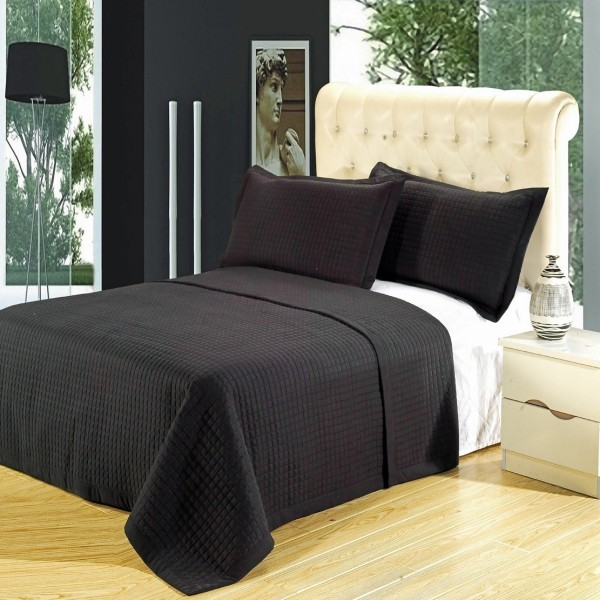 Microfiber Wrinkle Free Coverlet 3 Piece Set - King/CalKing