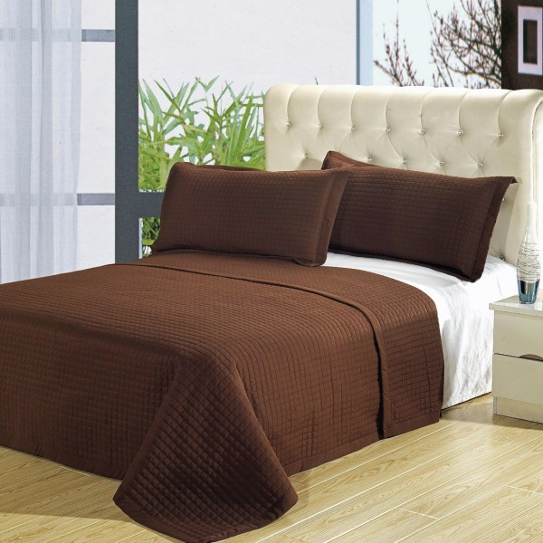 Microfiber Wrinkle Free Coverlet 3 Piece Set - Full/Queen