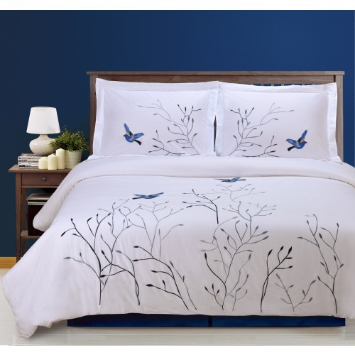 Swallow 3PC Cotton Duvet Cover Set
