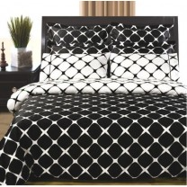Twin/Twin Extra Long Reversible Duvet Cover Set - Black/White