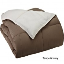 Reversible Down Alternative Comforter - Taupe/Ivory