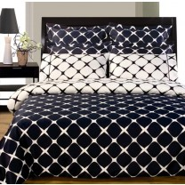 Twin XL Reversible Comforter Set - Navy Blue/White