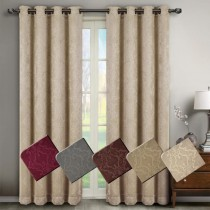 Bella Blackout Weave Embossed Curtain Panel Pairs