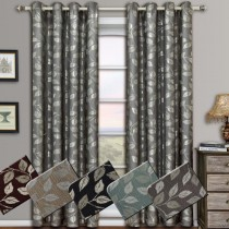 Charlotte Jacquard Grommet Window Curtain Panel Pairs