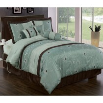 Grand Park Aqua Blue 7 Piece Comforter Set