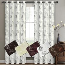 Olivia Embroidered Grommet Curtain Panel Pairs