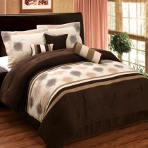 Grace 7 Piece Micro Suede Comforter Set - Chocolate