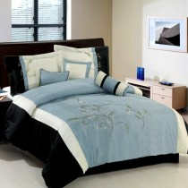 Santa Fe 7 Piece Comforter Set - Blue/Gray