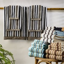Luxurious Striped 100% Cotton 2-Piece Bath Towel Set