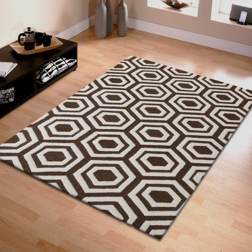 Hand Tufted Geometric Wool Rug (5'x8')