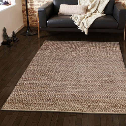 Natural Diamond Hand Woven Jute Rug
