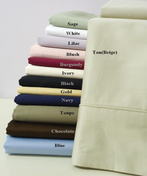 300 TC Egyptian Cotton Solid Pillow Cases - Standard Size