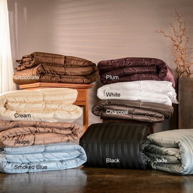 Twin/Twin XL Striped Down Alternative Comforter - 60 Ounces of Fill