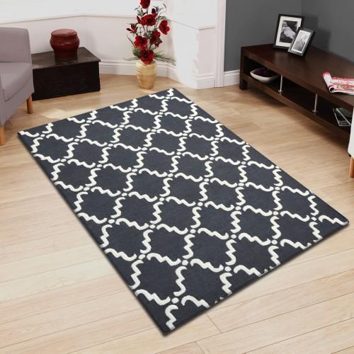 Hand Hooked Moroccan Lattice Wool Rug (5'x8')