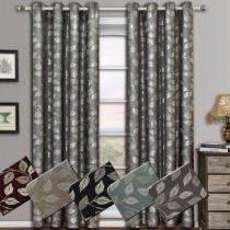 Charlotte Jacquard Grommet Window Curtain Panel Pairs