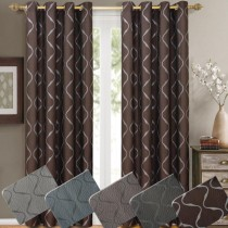 Laguna Jacquard Grommet Window Curtain Panel Pairs