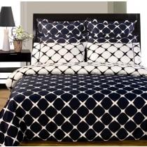 Twin XL Reversible Comforter Set - Navy Blue/White
