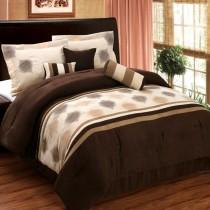 Grace 7 Piece Micro Suede Comforter Set - Chocolate