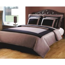 Twin XL Hotel Bed in a Bag Set - Black/Taupe